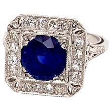 Art Deco 2.25ct. Sapphire and Diamond Antique Engagement - Fashion Ring Platinum - J37755