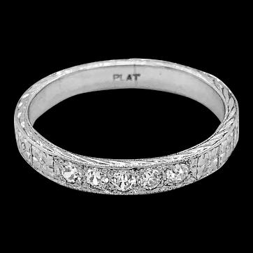 Platinum .25ct. T.W. Art Deco Diamond Antique Anniversary - Wedding Band - J37779