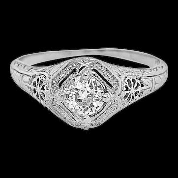 Edwardian .43ct. Diamond Antique Engagement - Fashion Ring 18K White Gold - J37783