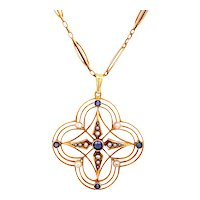 Arts & Crafts Sapphire and Pearl Antique Necklace Yellow Gold - J37786