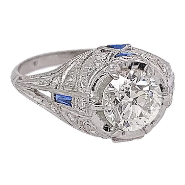 Art Deco 1.12ct. Diamond & Sapphire Antique Engagement Ring Platinum - J37787