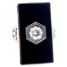 Art Deco .40ct. Diamond & Onyx Antique Fashion Ring White Gold - J37788