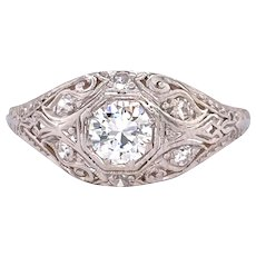 Art Deco .40ct. Diamond Antique Engagement - Fashion Ring Platinum - J37797