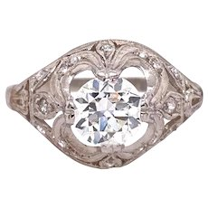 Art Deco .83ct. Diamond Antique Engagement - Fashion Ring Platinum - J37798