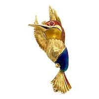 Enamel & .03ct. Pink Sapphire Hummingbird Antique Brooch 18K Yellow Gold - J37810