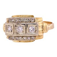 Art Deco .20ct. T.W. Diamond Antique Engagement - Fashion Ring Yellow Gold - J37817