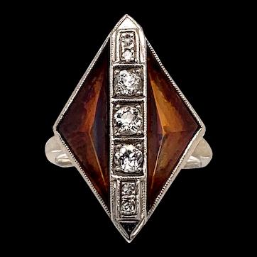Art Deco 2.00ct. T.W. Citrine & Diamond White Gold Antique Fashion Ring - J37823