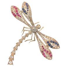 Mid Century Art Nouveau Dragonfly Vintage Brooch .50ct. Diamond, Ruby, Sapphire & 18K White Gold  - J37827