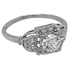 Art Deco Jabel .63ct. Diamond & Platinum Antique Engagement - Fashion Ring - J37835