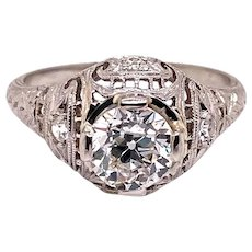 Art Deco .85ct. Diamond Antique Engagement - Fashion Ring Platinum - J37840