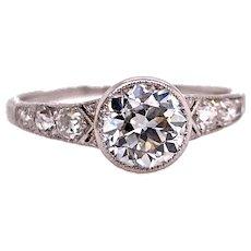 Edwardian 1.10ct. Diamond Antique Engagement Ring Platinum - J37841