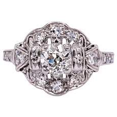 Art Deco .50ct. Diamond Antique Engagement - Fashion Ring Platinum - J37848