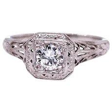 Edwardian .33ct. Diamond Antique Engagement Ring 18K White Gold - J37850