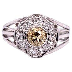 Edwardian .33ct. Diamond Antique Engagement - Fashion Ring 18K White Gold - J37876