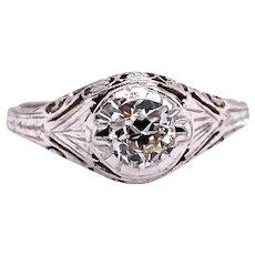 Edwardian .45ct. Diamond Antique Engagement - Fashion Ring White Gold - J37898
