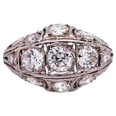 Art Deco 1.65ct. T.W. Diamond & Platinum Antique Engagement - Fashion Ring - J37921