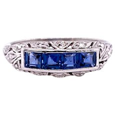 Art Deco .50ct. T.W. Sapphire & Diamond Antique Fashion Ring - Wedding Band Platinum - J37928