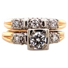 0.33ct. Diamond Vintage Wedding Set Yellow & White Gold - J37946