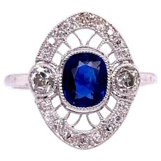 0.75ct. Sapphire & Diamond Art Deco Antique Engagement - Fashion Ring Platinum - J37951