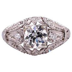 Art Deco .72ct. Diamond & Platinum Antique Engagement - Fashion Ring - J37960