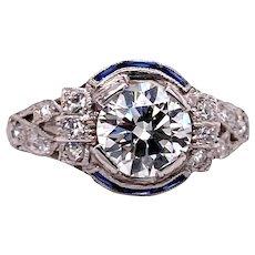 Art Deco 1.10ct. Diamond and Sapphire Antique Engagement - Fashion Ring Platinum - J37967