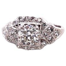 Art Deco .80ct. Diamond Antique Engagement - Fashion Ring Platinum - J37974