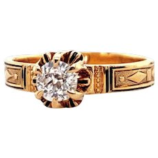 Victorian .42ct. Diamond Antique Engagement Ring 18K Yellow Gold - J38047