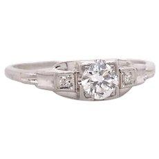 Art Deco Lambert Bros. .35ct. Diamond Antique Engagement Ring Platinum - J38074