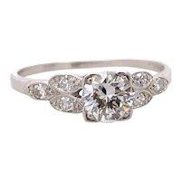 Art Deco .60ct. Diamond Platinum Antique Engagement - Fashion Ring - J38085