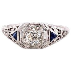 Art Deco .33ct. Diamond & Sapphire Antique Engagement - Fashion Ring 18K White Gold - J39022