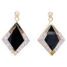Onyx & .75ct. T.W. Diamond Vintage Dangle Earrings Yellow & White Gold - J38998