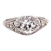 Art Deco .65ct. Diamond Antique Engagement - Fashion Ring Platinum - J39008