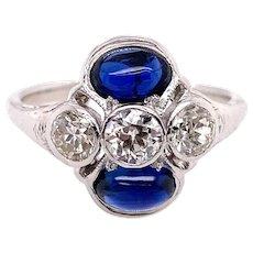 Art Deco 1.00ct. T.W. Sapphire & Diamond Antique Engagement - Fashion Ring Platinum - J39025