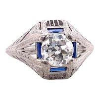 Art Deco 1.06ct. Diamond & Sapphire Antique Engagement - Fashion Ring Platinum - J39030