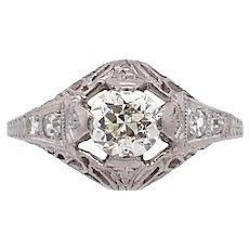 Art Deco .50ct. Diamond Antique Engagement - Fashion Ring Platinum - J39035