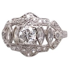 Art Deco 1.12ct. T.W. Diamond Antique Engagement - Fashion Ring Platinum - J39036