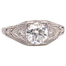 Art Deco .65ct. Diamond Antique Engagement - Fashion Ring Platinum - J39037