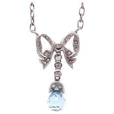.25ct. Aquamarine & Diamond Vintage Necklace Platinum - J39057