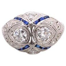 Art Deco .50ct. T.W. Diamond & Sapphire Antique Engagement - Fashion Ring 18K White Gold - J39064