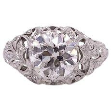 Art Deco 1.75ct. Diamond Antique Engagement - Fashion Ring Platinum - J39106