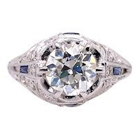 Art Deco 1.20ct. Diamond & Sapphire Antique Engagement - Fashion Ring Platinum - J39224