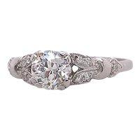 Art Deco .70ct. Diamond Antique Engagement Ring Platinum - J39225