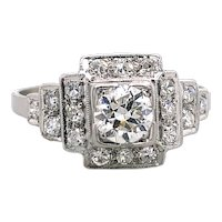 Art Deco .40ct. Diamond Antique Engagement - Fashion Ring Platinum - J39230