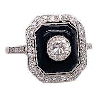 Art Deco .40ct. Diamond & Onyx Antique Engagement - Fashion Ring Platinum - J39245