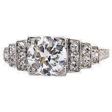 Art Deco 1.00ct. Diamond Antique Engagement - Fashion Ring Platinum - J39252