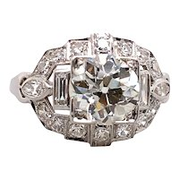 Art Deco 1.55ct. Diamond Antique Engagement - Fashion Ring Platinum - J39253