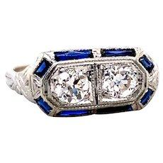 Art Deco .50ct. T.W. Diamond & Sapphire Antique Engagement - Fashion Ring Platinum - J39256