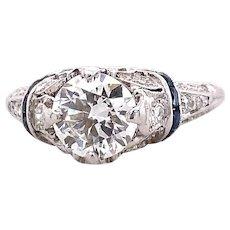 Art Deco .90ct. Diamond & Sapphire Antique Engagement - Fashion Ring Platinum - J39257