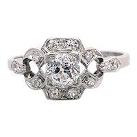 Art Deco .40ct. Diamond Antique Engagement - Fashion Ring Platinum - J39275