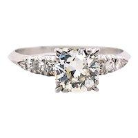 Art Deco .85ct. Diamond Antique Engagement Ring Platinum - J39279